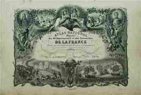 1852 Levasseur Map Atlas of France with America