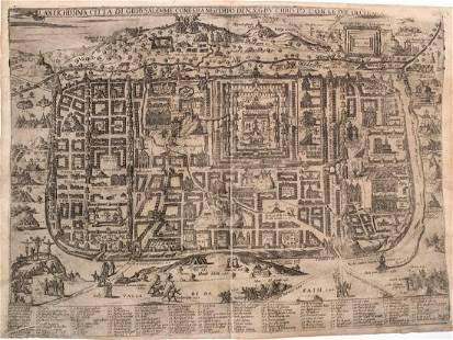 1595 Florimi Map of Jerusalem and Christ Crucifiction
