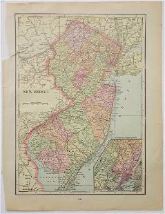 George Cram: Map of New Jersey, 1902