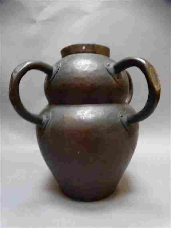 Stickley Hand-Beaten Quadruple-Handle Lamp Vase