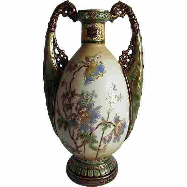 Porcelain Amphora Art Nouveau Vase, Ernst Wahlis