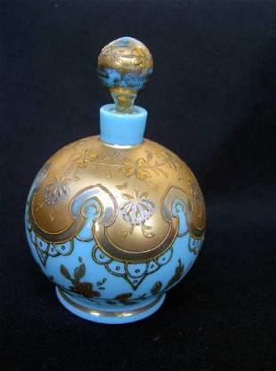 Blue Opaline Scent Bottle by Moser