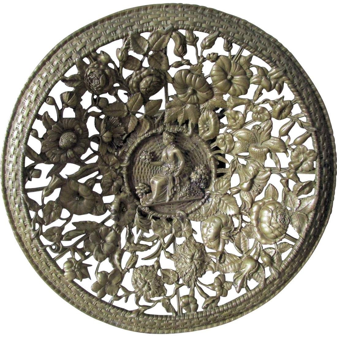 Victorian Bronze Tazza with Floral Motif