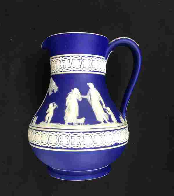 Wedgwood Blue Jasperware Etruscan Jug C. 1890
