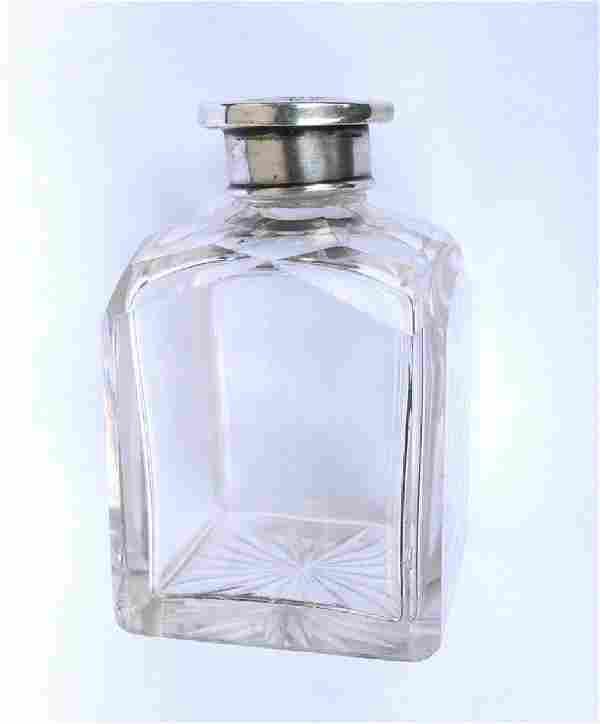 19th C. Cut Crystal Silver Lidded Flacon