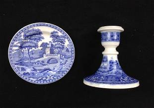 Spode Blue Tower Candle Holder & Dish / Toy Plate
