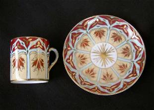 19th C German Tietsch & Cie Coffee Can & Saucer