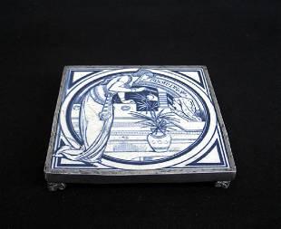 Arts & Crafts Trivet: A Minton's Tile, John Moyr Smith
