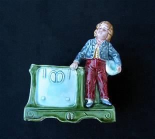 Jugendstil Majolica Vase / Card Holder, C. 1900