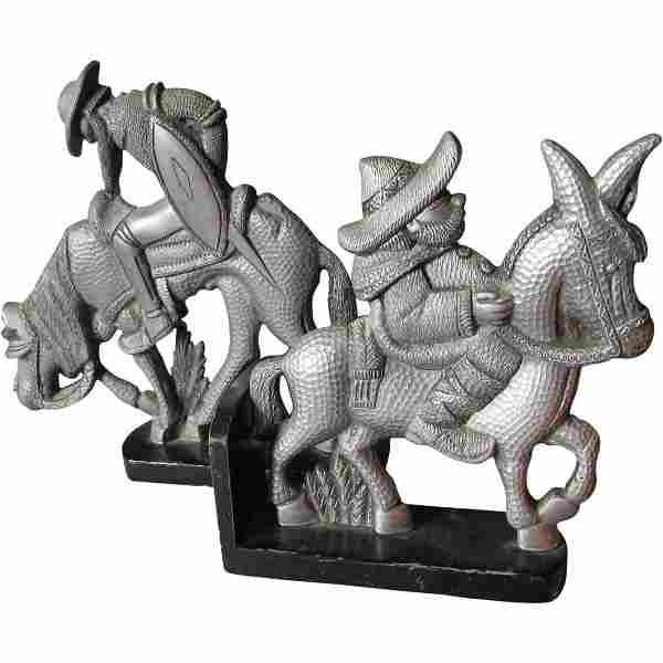 Midcentury Hammered Aluminum Don Quixote & Sancho Panza
