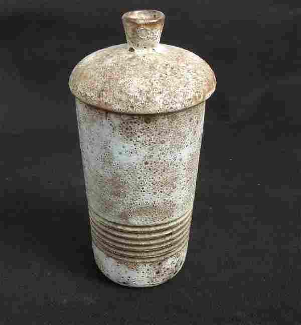 Lava Glaze Lidded Beaker Vase, Vallauris C. 1970