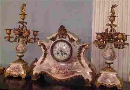 Majestic Tiffany Clock w. Matching Candelabra C. 1875