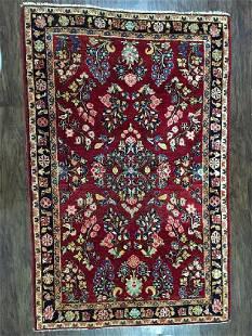 Antique High Kpsi Persian Sarouk Mohajeran Rug 3.5x5.3