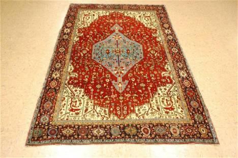 Antique Super Detailed Persian Bijar Rug 4.2x7