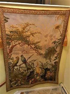 French Wall Tapestry, Birds Garden Design, 5x7ft