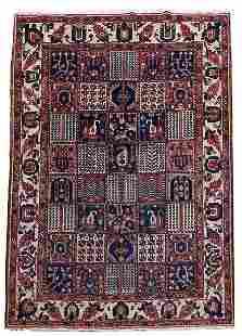 Persian Bakhtiari Rug, Wool Pile Handmade, 7x10