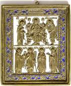 Deesis With Saints Metal Icon, 19th C