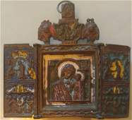 Mother of God Bronze Enamel Triptych Icon, 18th C