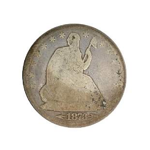 1873 Liberty Seated Arrows At Date Half Dollar Coin