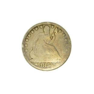 1854-0 Arrows At Date Liberty Seated Half Dollar Coin