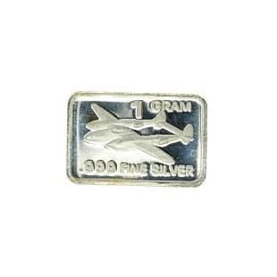 1 Gram Airplane Design .999 Fine Silver Bar