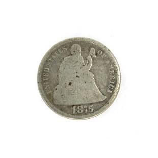 Rare 1875 Liberty Seated Dime Coin