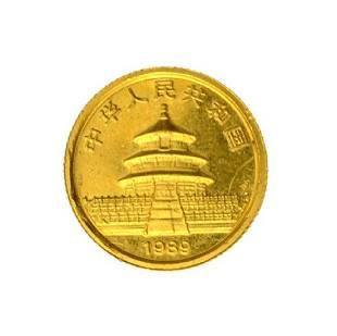 1989 1/20th Small Date Gold Panda 5 Yuan MS Coin (JG