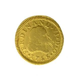 1755 Spain 1/2 Escudo Gold Coin (JG PS)