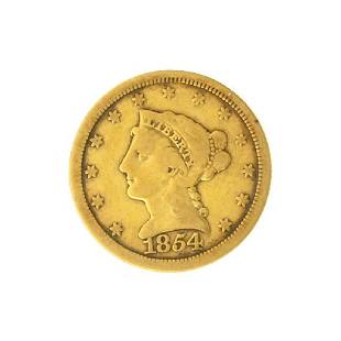 1854 $2.50 U.S. Liberty Head Gold Coin - Great