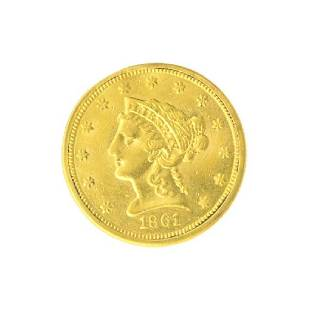 1861 $2.50 U.S. Liberty Head Gold Coin - Great