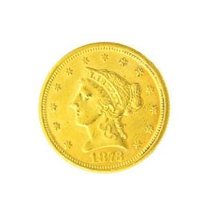 1873 Closed 3 $2.50 U.S. Liberty Head Gold Coin -