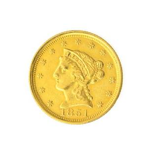 1851 $2.50 U.S. Liberty Head Gold Coin - Great