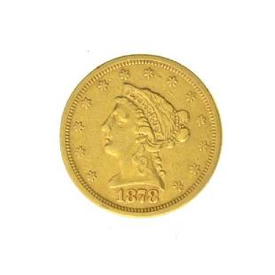 1878-S $2.50 U.S. Liberty Head Gold Coin - Great