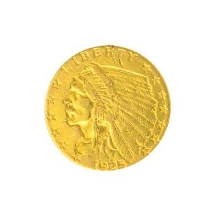 1925-D $2.50 U.S. Indian Head Gold Coin - Great