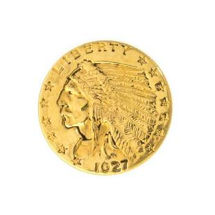 1927 $2.50 U.S. Indian Head Gold Coin - Great