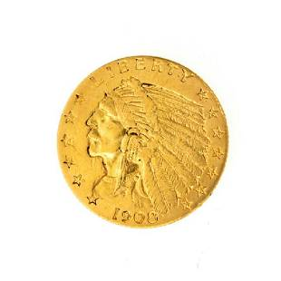 1908 $2.50 U.S. Indian Head Gold Coin - Great