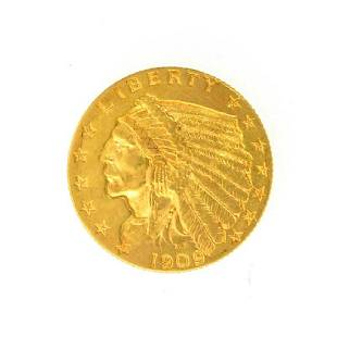 1909 $2.50 U.S. Indian Head Gold Coin - Great