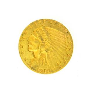 1910 $2.50 U.S. Indian Head Gold Coin - Great