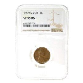 1909-S VDB Lincoln 1 Cent NGC VF35 BN Coin (JG)