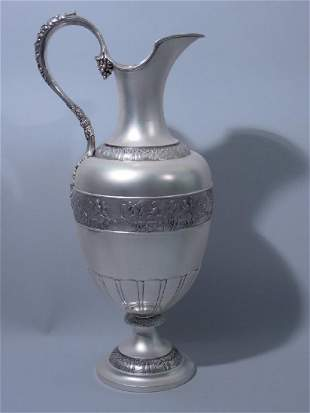 Large Classical Sterling Silver Ewer by Tiffany C 1885