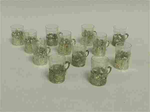 Set of 12 German Silver & Glass Cordials C. 1900
