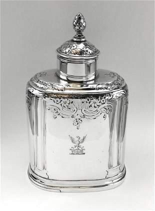 George II Georgian Solid Silver Tea Caddy Box