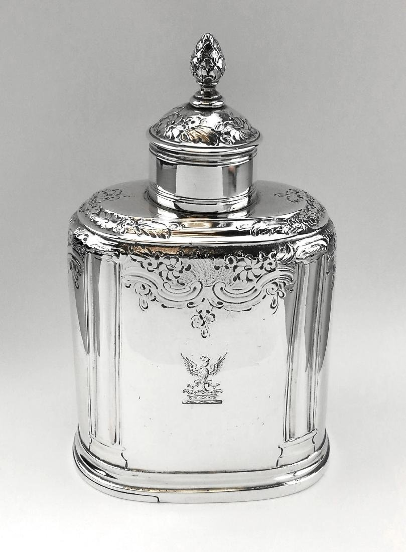 George II Georgian Solid Silver Tea Caddy Box