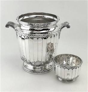 French Sterling Wine Cooler & Ice Bowl Set 1927