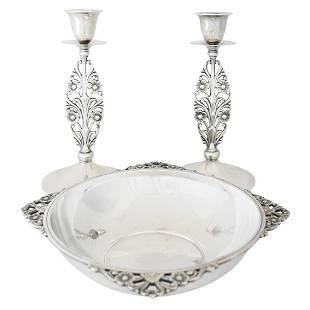 Tiffany Sterling Art Deco Candlesticks/Cennterpiece Set