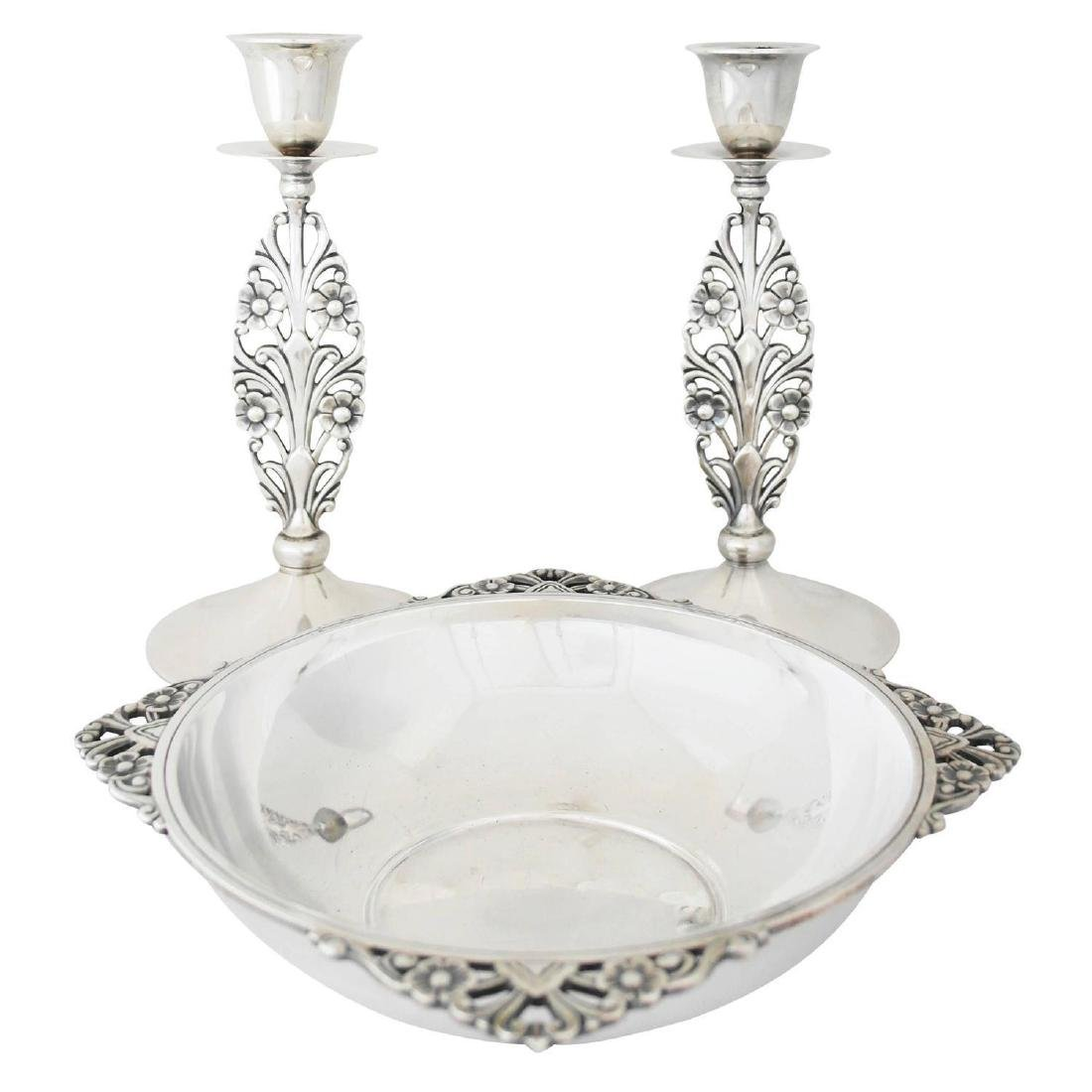 Tiffany Sterling Art Deco Candlesticks/Cennterpiece Set