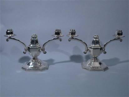 Pair of Art Deco European Silver Candelabra C 1930