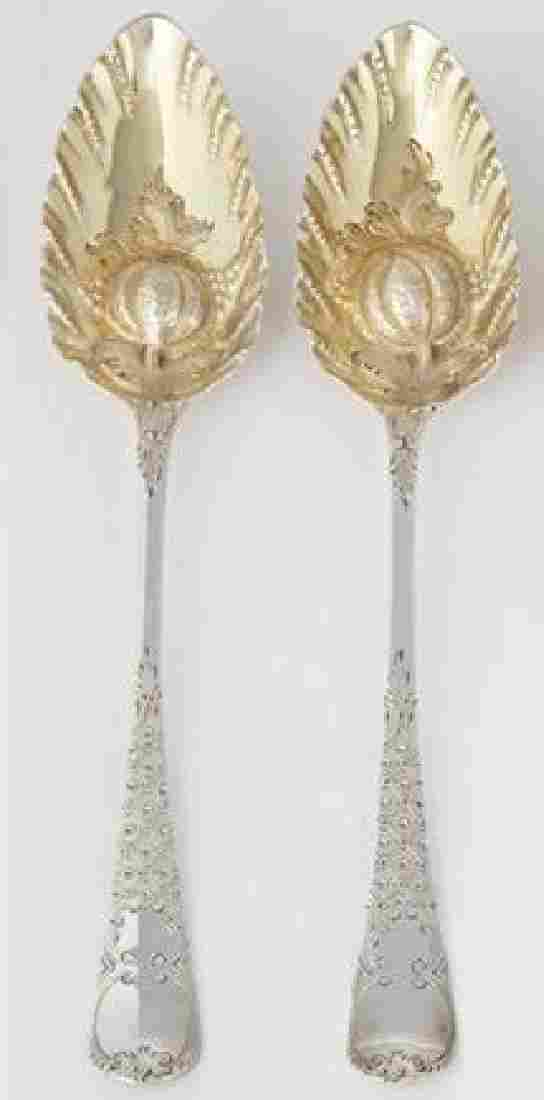 Pair English Sterling Silver Fruit Serving Spoons