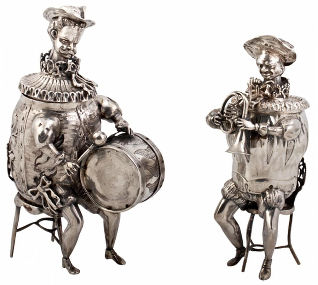 Antique Silver Musical Figures. Neresheimer, Hanau