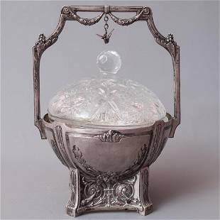 German Silver & Cut-glass Covered Basket